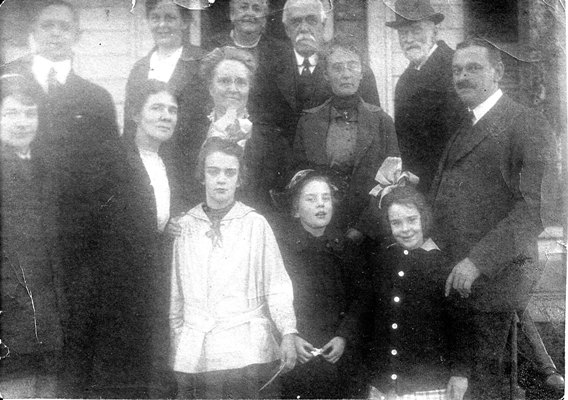 Top row Herald Smith, (Gertruds husband) Gertrude, Catherine (White) Uncle Arthur, Braman   Alfred, (son of Alfred and Viola) Viola (Crocker), (Alfreds wife) Aunt Martha, Maud, (Berkley), (wife of the photographer Harry) Alfred (oldest son of Braman)  Bottom row Catherine, Elisabeth, Eleanor (Daughters of Alfred and Viola)